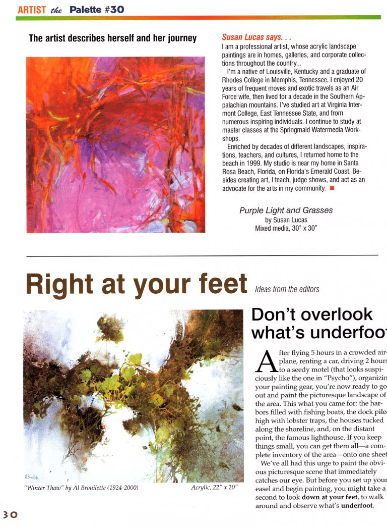 """Looking Down"" published in The Palette Magazine June/July 2009 issue featuring Susan Lucas - Page 4"