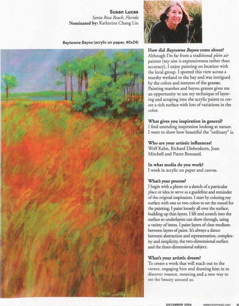Watercolor Magic Magazine spotlights Susan Lucas December, 2006 - Page 2