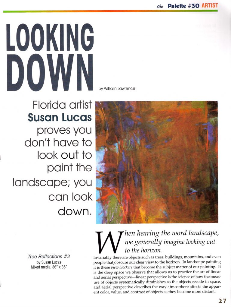 """""""Looking Down"""" published in The Palette Magazine June/July 2009 issue featuring Susan Lucas - Page 1"""